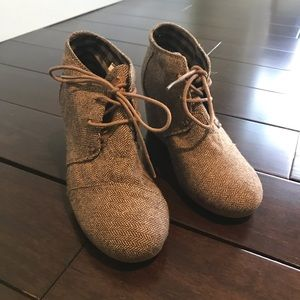 Toms heather gray wedge booties